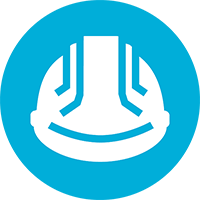white hardhat icon on blue circle