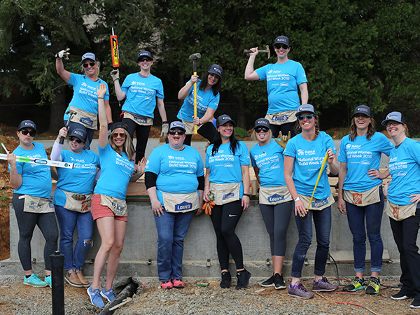 Women Build Volunteers on the first day of their build