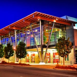 Salem Convention Center lit up at night in downtown Salem, OR